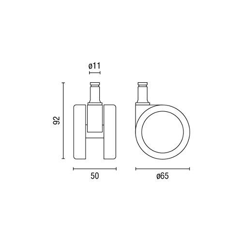 Centrosilla Ruedas Silla Oficina Goma 11 mm diámetro 65 mm para ...