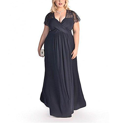 c17034d8ee FeelinGirl Mujer Vestido de Noche Encaje Largo Traje Talla Extra Grande