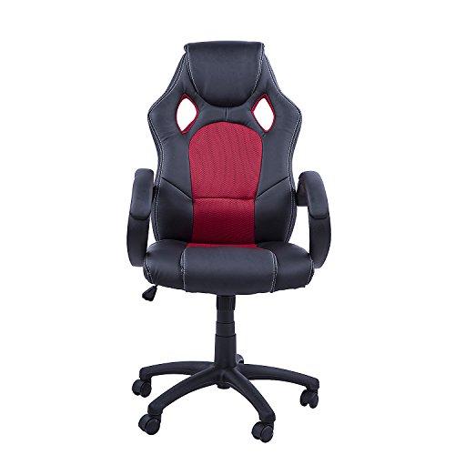 Homcom Silla oficina ejecutiva deportiva sillón estudio dirección giratoria  cubo racing medidas
