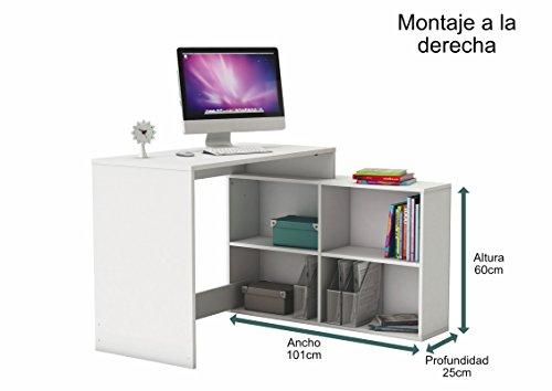Mesa de ordenador escritorio juvenil con estanteria baja en color Blanco