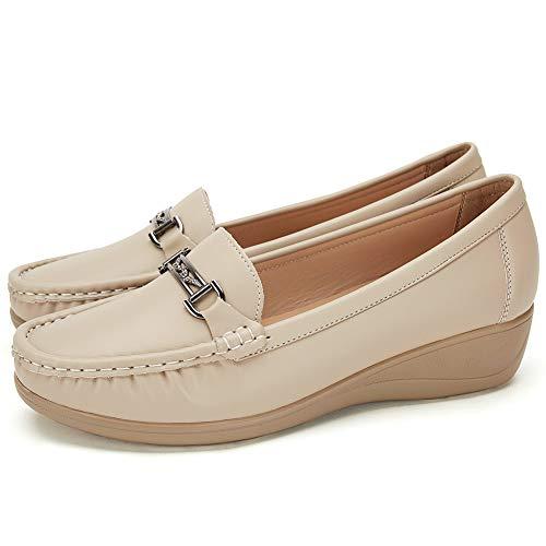 San Francisco 70cf3 35980 Mocasines Negros Planos para Mujer Invierno - Zapatos Comodos Plataforma  Cuña, Adecuado para Oficina y Uso Diario