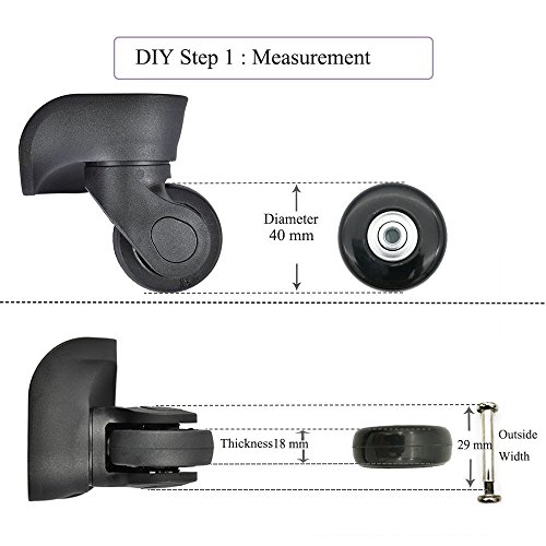 Negro Repuesto Equipaje//Inline Skate ruedas con exterior 608ZZ Rodamientos