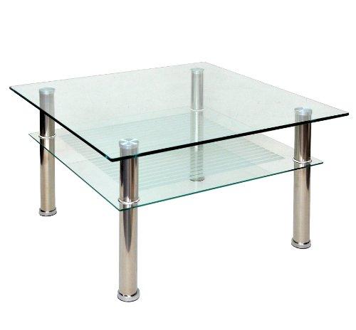 ts-ideen - Mesa auxiliar (cristal y acero inoxidable, 70 x 70 cm ...